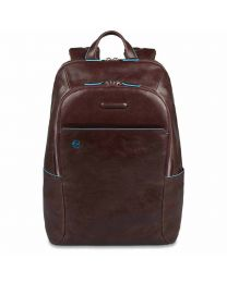 Small size, computer backpack with iPad® Blue Square - mahogany