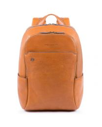 """Small size computer backpack with iPad®10,5""""/iPad 9,7"""" compartment, pockets for bottle and umbrella Blue Square - Cuoio tabacco"""