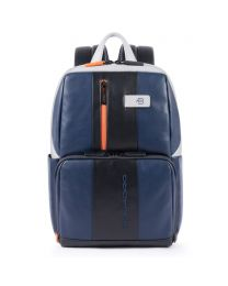 Simple Urban leather backpack - blu/grigio