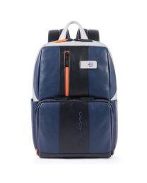 Simple Urban leather backpack - blu/grigio