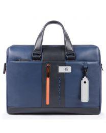 Computer portfolio briefcase with iPad® compartment, customizable tag and pocket for CONNEQU Urban - blu/grigio