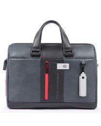 Computer portfolio briefcase with iPad® compartment, customizable tag and pocket for CONNEQU Urban - grigio/nero