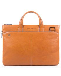 """Small expandable laptop briefcase with compartment for 10.5""""/9.7"""" iPad®, CONNEQU avail. Black Square - cuoio tabacco"""