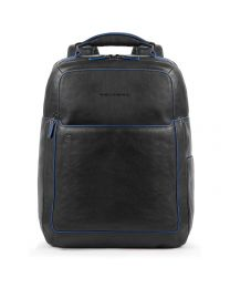 Fast Check computer backpack with iPad®10,5iPad 9,7 compartment, bottle and umbrella pockets Blue Square - Black