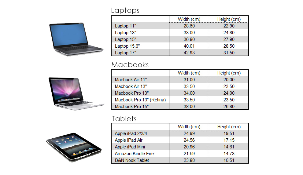 Shows sizes of laptop
